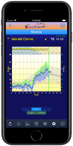 Daily wind graph with real and forecast data